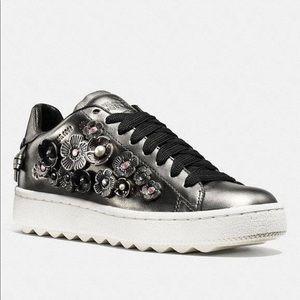 COACH Gunmetal Rose Flower Sneakers Shoes W/Box
